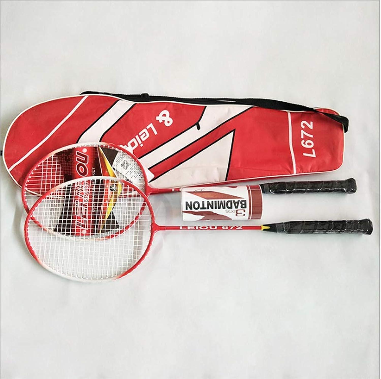 Badminton Racket, Initial Academic Training Badminton Racket, UltraLight Resistant Double Beat 2Pack Racket