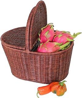 Xuan - Worth Having Brown Rattan Hand Basket Accueil avec Couverture Alimentation Fruit Basket Panier Pastoral créatif Pan...