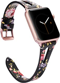 Wearlizer Womens Floral Compatible with Apple Watch Band 38mm 40mm for iWatch Womens Top Grain Leather Strap Triangle Hole Stylish Wristband Dressy Replacement (Metal Rose Gold Clasp) Series 5 4 3 2 1