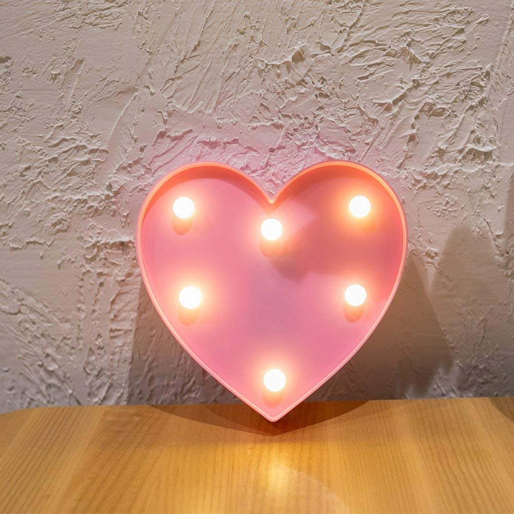 Buy Pindia Beautiful 3d Heart Shaped Led Light Up Marquee Sign Romantic Night Table Wall Indoor Outdoor Decoration 12 X 12 X 2 5 Cm Pink Online At Low Prices In India Amazon In