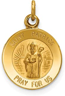 14k Yellow Gold Saint Patrick Medal Pendant Charm Necklace Religious Patron St Fine Mothers Day Jewelry For Women Gifts For Her