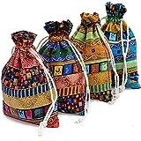 INTVN sac calendrier de l'avent Lot de 24 pochettes en tissu, petits sacs pour cadeau de mariage, pochette en velours de mariage, 10 x 14 cm