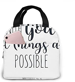Bible Verse With God All Things Are Possible Portable insulated lunch bag Big Capacity Lunch Cooler Tote Bag for for Work School Travel Lunch Box with Front Pocket