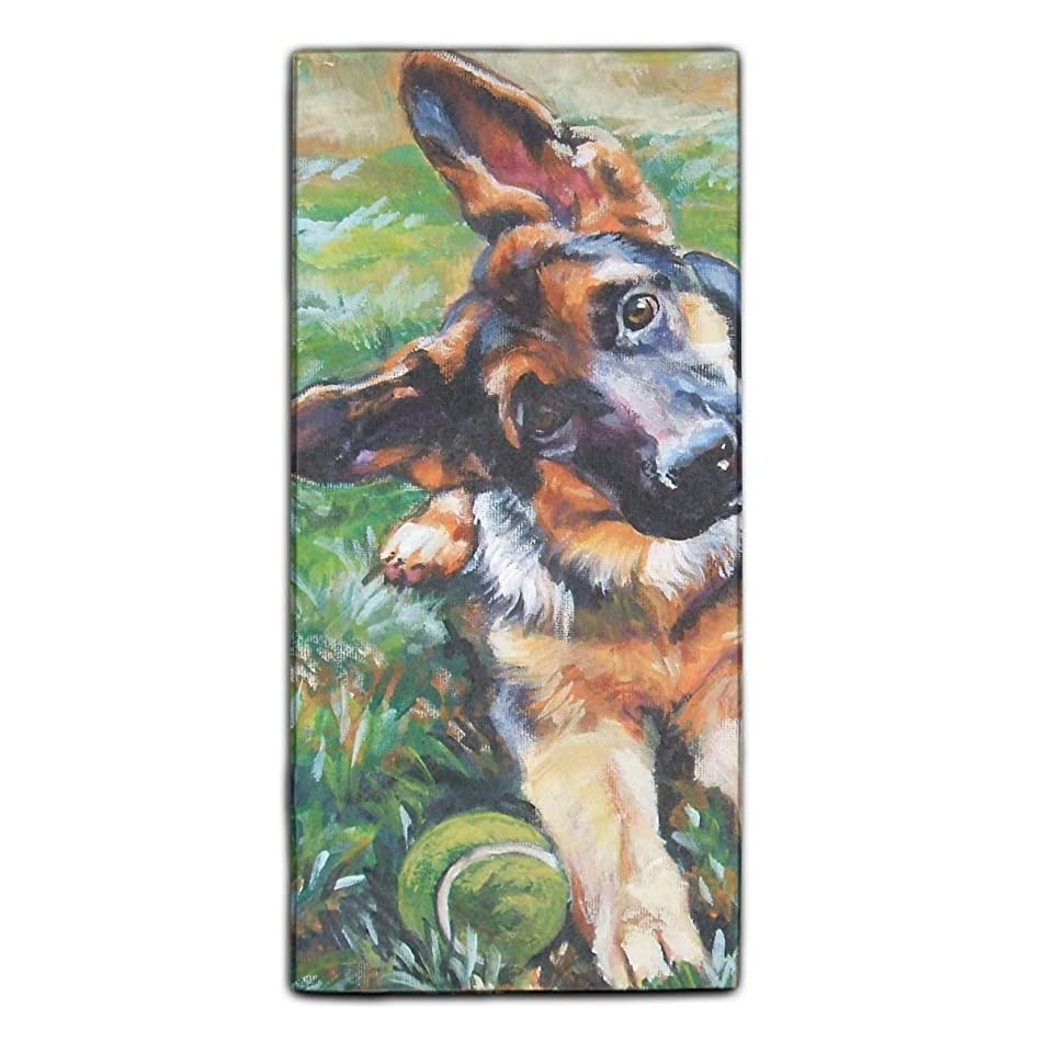 German Shepherd Art Clip Towels Fingertip, Personalized Gift, 11.8 x 27.5 Inches, Extra Absorbent Towel For Bathroom/Kitchen/Spa