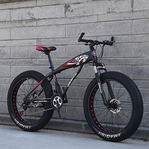 W&HH SHOP Kinder/Jugend/Erwachsener Fettreifen Mountainbike, 26-Zoll-Räder, 21-Gang, Drehschalen, Stahlrahmen, mechanische Scheibenbremsen, mehrere Farben,Black red