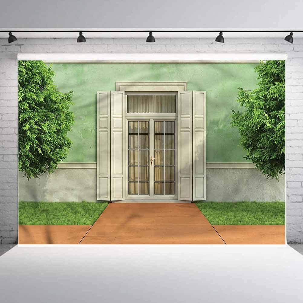 7x7FT Vinyl Wall Photography Backdrop,Country,Garden of an Old House Background for Party Home Decor Outdoorsy Theme Shoot Props
