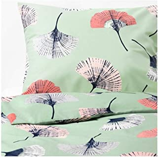 IKEA Tovsippa Duvet Cover and Pillowcases Green Floral Patterned Size: King 804.168.92
