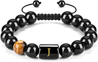 FRG Initials Bracelets for Men Letter Link Pure Handmade 10mm Natural Black Onyx Tiger Eye Stone Beads Braided Rope Bracel...