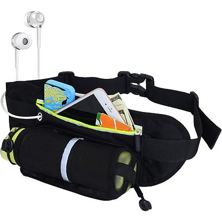 Riñonera Running con Soporte para Botella de Agua [sin Botella] – Soporte de teléfono Impermeable para Entrenamiento, Ciclismo, Viaje y más –con Tiras Reflectantes y Agujero para Auriculares