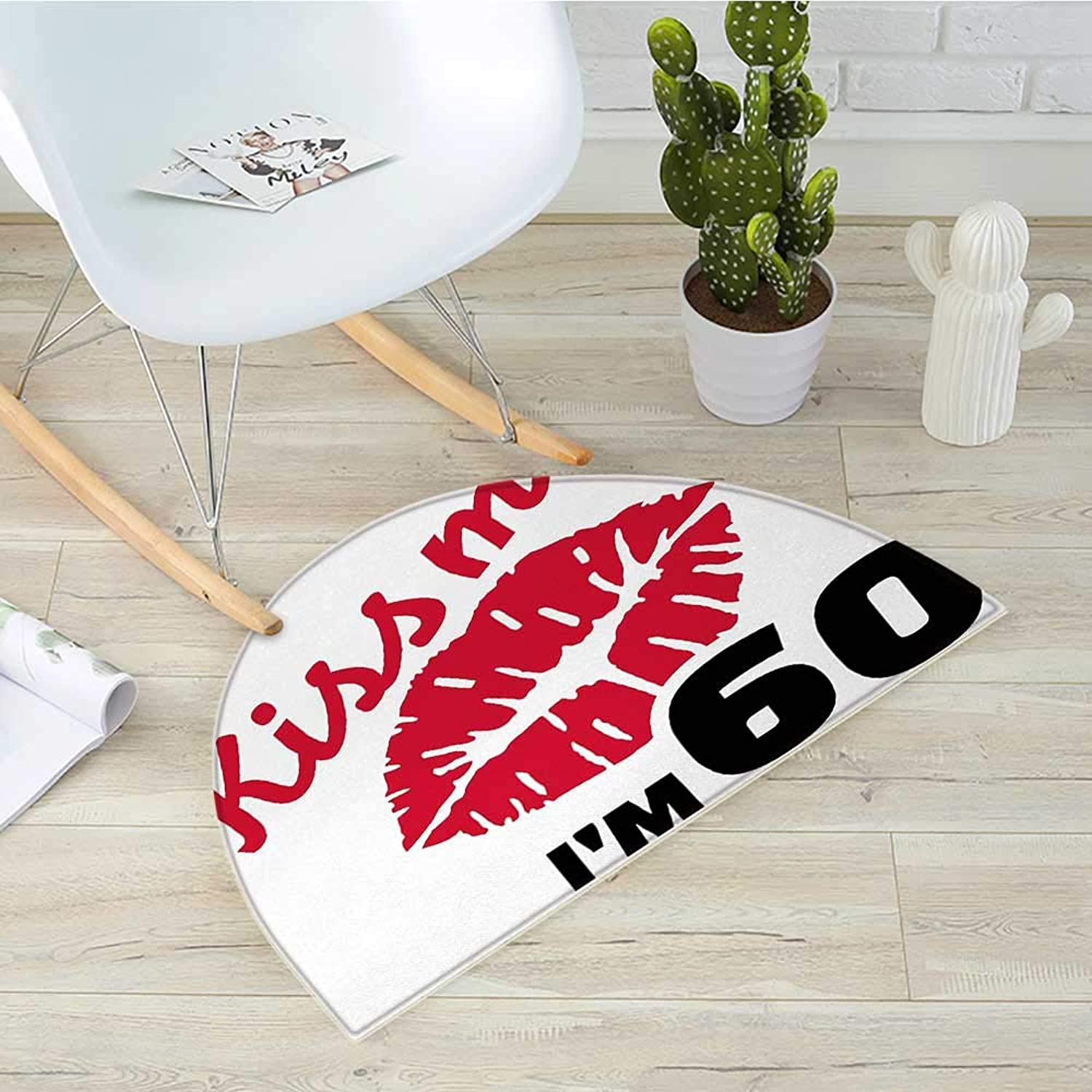 60th Birthday Half Round Door mats Hot and Sexy Party Theme with Lipstick Mark Kiss Me I am 60 Quote Image Bathroom Mat H 39.3  xD 59  Red and Black