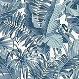 FD24133 Papier peint décoratif Motif feuilles tropicales Bleu