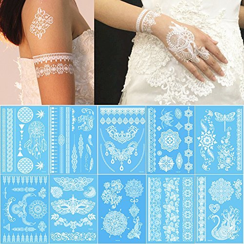 Lady Up 10 Sheets Henna Temporary Tattoos Body Art Stickers for Women Teens Girls Necklace Bracelets Patterns 210 x 150mm (White)