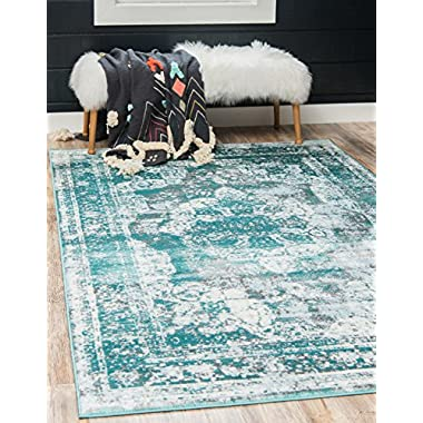 Unique Loom Sofia Collection Traditional Vintage Turquoise Area Rug (8' x 10')