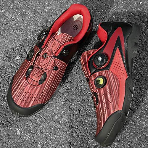 TAOXUE Zapatos de ciclismo para hombre sin cerradura para bicicleta de carretera Zapatos de bicicleta para mujer al aire libre para tacos de interior no compatibles, rojo, 42 EU