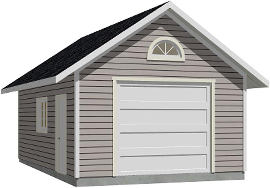 Garage quality assurance Plans: 1 Car Arlington Mall Plan 384-5 24' x 16' - one car