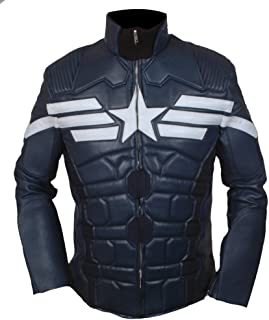 英語の授業がありますミニファントムF&H Men's Captain America Winter Soldier Genuine Leather Jacket