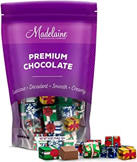 Madelaine Solid Premium Milk Chocolate Christmas Presents, (1 LB) Wrapped In Assorted Holiday Gift Wrap Italian Foils. - (One Pound)