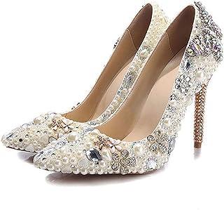 ヨーロッパと米国の色付きのダイヤモンドパールの靴女性のスティレットのバタフライドリルのパターンと超高シングルシューズ