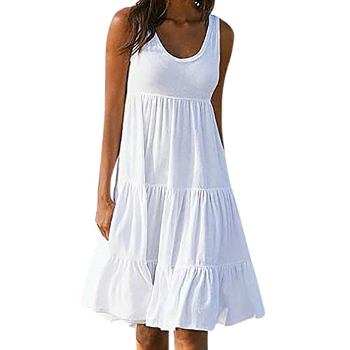 2b46d4c802 Wawer Cotton Beach Dresses for Women, Summer Solid Strapless Maxi Beach  Dresses Sleeveless Party Cocktail