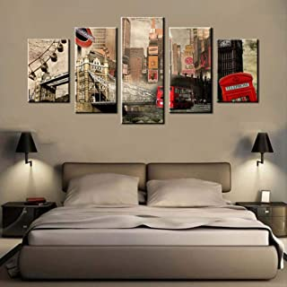 Wall Decor 5 Panels Canvas Poster Red Double-Decker London Bridge Poster Printed Modern Home Decor Canvas Painting Artwork
