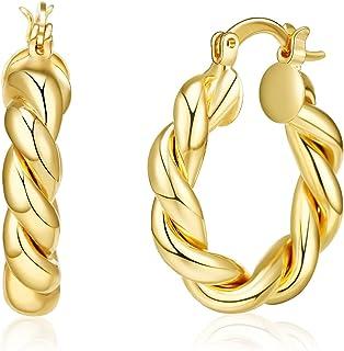 أقراط أنبوبية ذهبية مكتنزة، مطلية بالذهب عالية اللمعان وخفيفة الوزن للبنات مجوهرات الأزياء