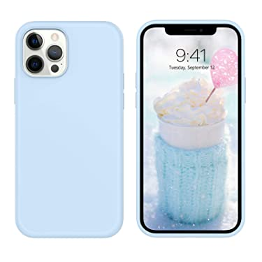 """DUEDUE Compatible with iPhone 12 Pro Max Case 6.7"""", Liquid Silicone Soft Gel Rubber Slim Cover with Microfiber Cloth Lining Cushion Full Protective Case for iPhone 12 Pro Max 2020,Blue"""