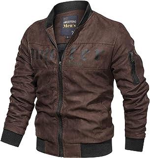 Sunward Men Coat Jacket Winterwear,Men's Autumn Winter Vintage Zipper Stand Collar Solid Imitation Leather Coat