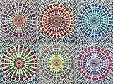 Indische Mandala Wandbehang, Pfau-Motiv, indischer Mandala, Picknick, Strand, Pyshedlic Mandala-Motiv, ethnische Dekorative Wandbehang indischer Baumwolle, Tagesdecke, Überwurf, Tischdecke, 137 cm x 86 cm, 50 Stück, Lot von Bhagyoday