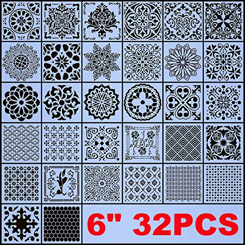 AK KYC Stencils Mandala Painting Stencil Stencils for Painting (6x6 inch Small Size) on Wood Wall Floor Tile Fabric Furniture Decor Mandala Dotting Tools Reusable (Style 4(6' 32PCS))