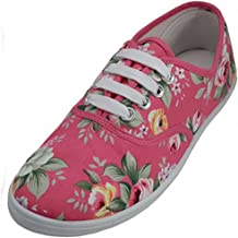 Women's Pink Rose Floral Print Canvas Sneakers Tennis Shoes Lace Up