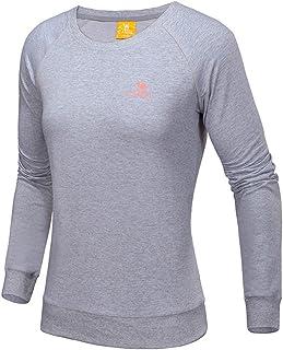 Camel Women Sport Long Sleeve T-Shirt Pullover Running Tees Crew Neck T Shirt Outdoor Performance Gray L