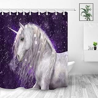 Fantasy Nebula Universe Unicorn Wallpaper Shower Curtain for Kids Bathroom, Magic Animals Unicorn in Galaxy Sky,Polyester Fabric Shower Curtains, Bath Curtain Hooks Included, 69X70in