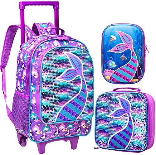 3PCS Rolling Backpack for Girls Wheeled Mermaid Bookbag with Lunch Box Pencil Box product image