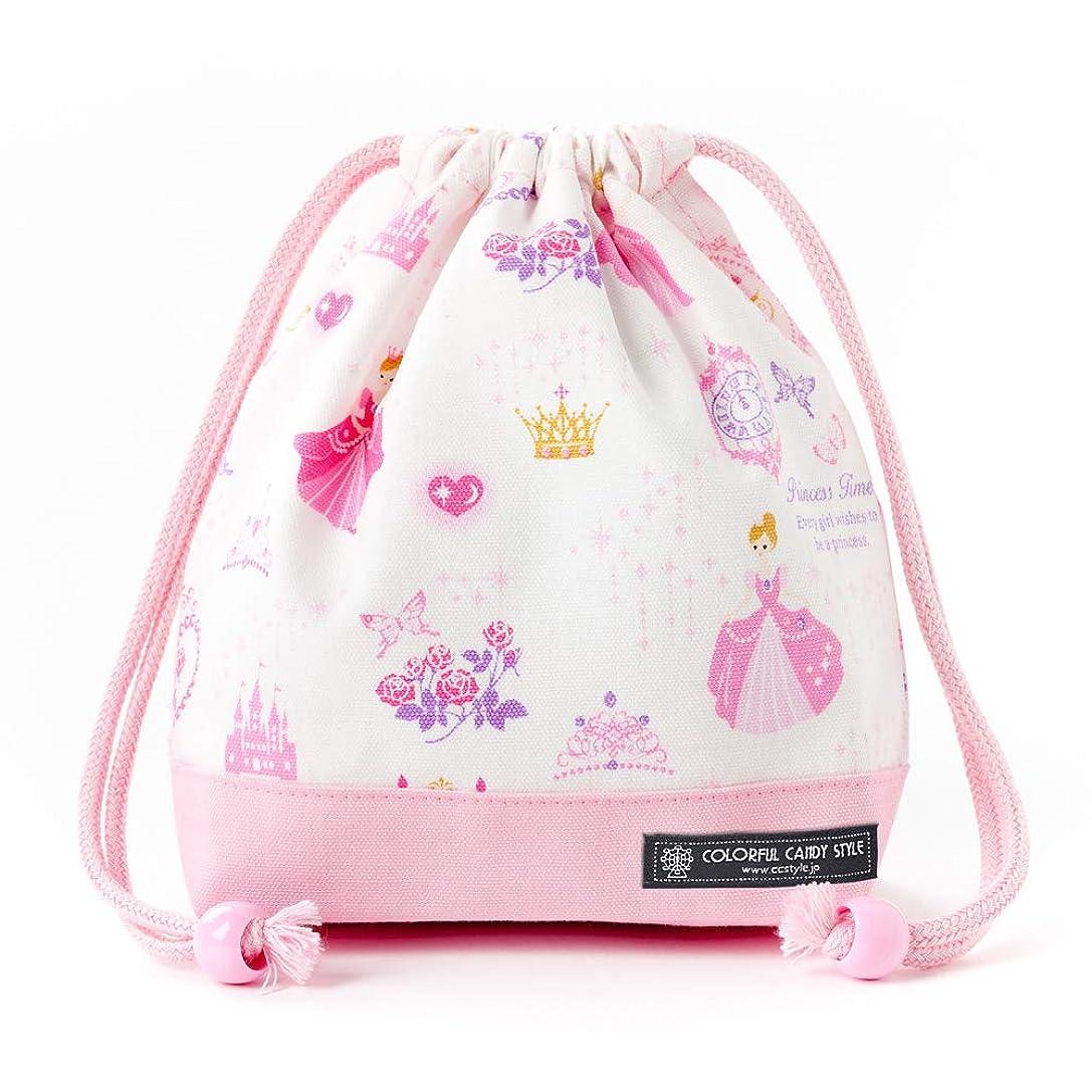 追うジュニア称賛巾着?小 コップ袋 コップ入れ プリンセスドレスで彩るパウダールーム(ホワイト) N3577500