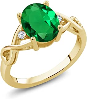 Gem Stone King Green Simulated Emerald and White Topaz 18K Yellow Gold Plated Silver Women Ring (1.55 Ct Oval, Available i...