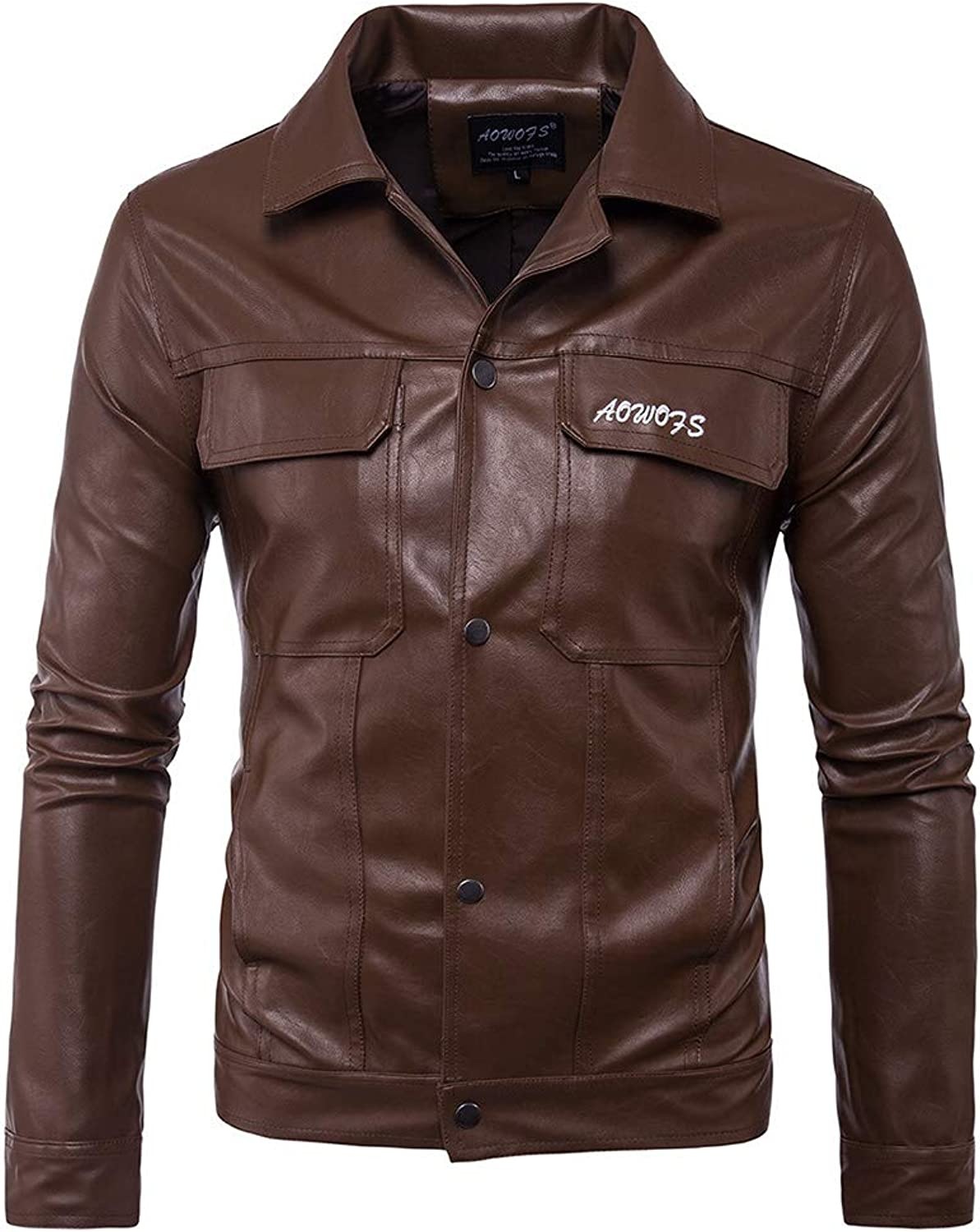 Men's Black and Brown Faux Leather Biker Jacket with Letter Embroidery