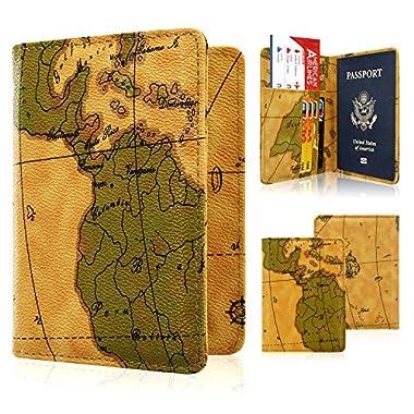 ACdream Passport Holder Case, Protective Premium Leather RFID Blocking Wallet Case for Passport (Brown Map)
