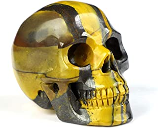 "Skullis 2.0"" Colorful Tiger Iron Eye Crystal Skull, Hand Carved Gemstone Fine Art Sculpture, Reiki Healing Stone Statue. 1070"