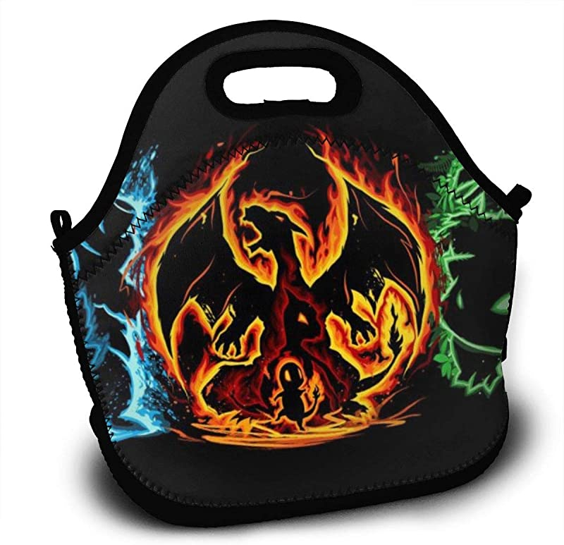 Charizard Po Ke Mon Neoprene Insulated Lunch Tote Storage Bag Lunch Box Food Bag For School Work Picnic For Adults Kid