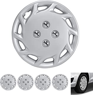 "BDK Wheel Guards – (4 Pack) Hubcaps for Car Accessories Wheel Covers Snap Clip-On Auto Tire Rim Replacement for 14 inch Wheels 14"" Hub Caps (Spiral Spokes)"