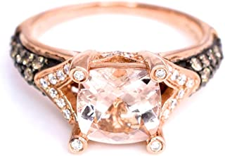 LeVian Ring Peach Morganite Chocolate and Vanilla Diamonds 2 cttw 14K Rose Gold New