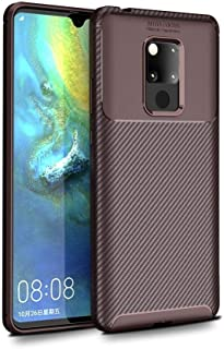 Huawei Mate 20 X Beetle Series Carbon Fiber Texture Pro TPU Case cover - Brown.
