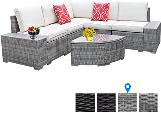 6 Pieces Outdoor Patio Furniture Set, Wicker Rattan Patio Furniture Sofa Patio Rattan Wicker Sofa With Glass Coffee Table And Comfortable Cotton Cushions Outdoor Furniture Patio Set(Striped Gray)