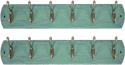 DOKEHOM 2 Set 6-Antique Brass Hooks on Natural Pine Wooden Coat Rack Hanger, Mail Box Packing (Mediterranean Blue)