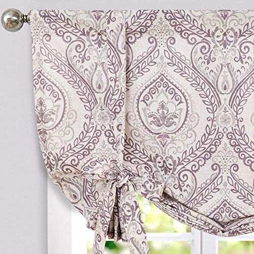 jinchan Tie Up Curtains Shade for Kitchen Living Room Damask Printed Paisley Rod Pocket Drapes Multicolor Medallion Flax Window Curtain 1 Panel 54 inches Long Purple