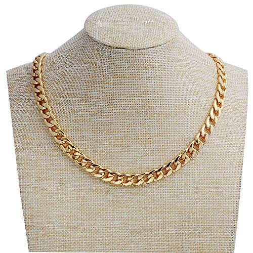 """Tool Station Gold Chain, 24"""" Gold Necklace, Necklace for Men, Feel Real Solid 18k Gold Plated Fake Chain Necklace 24"""" 10mm"""