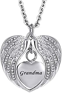 Roy Lopez Grandma Angel Wings Memorial Jewelry Urn Necklaces for Ashes Cremation Keepsake