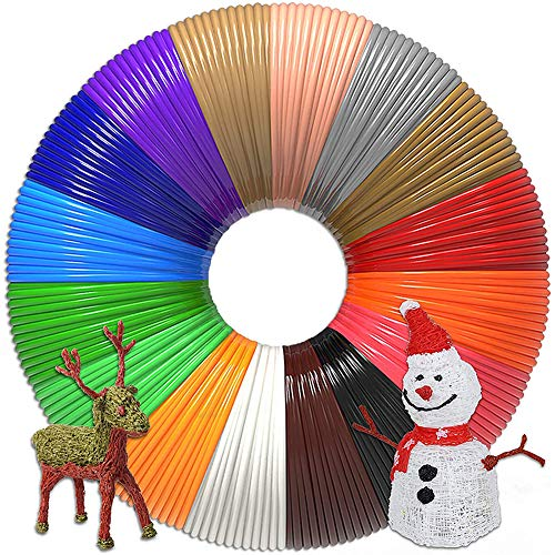 Coospy 16 colores 3D bolígrafo filamento recarga para 2,5 m cada color, PAL 1,75 mm Fliament Set para impresión 3D Filamentos Hobby Creativos de líneas de impresión 3D para impresora 3D