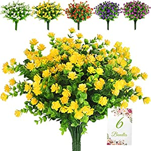 6 Bundles Artificial Flowers for Outdoor Decoration, UV Resistant Faux Plastic Greenery Shrubs Plants Fake Flowers Hanging Planter Kitchen Home Wedding Office Garden Window Box Decor (Yellow)