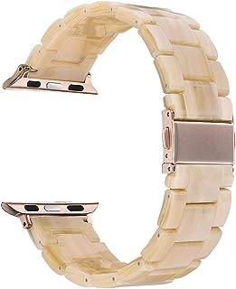 Reçine Bilezik, Apple Watch ile Uyumlu BBant-Kordon-Kayış, 38mm/40mm - 42mm/44mm için uygun, iWatch Serisi 4/3/2/1 ile çalışır, Paslanmaz Çelik Bakır Yedek Bileklik Kayışı (42mm/44mm, Krem Rengi)